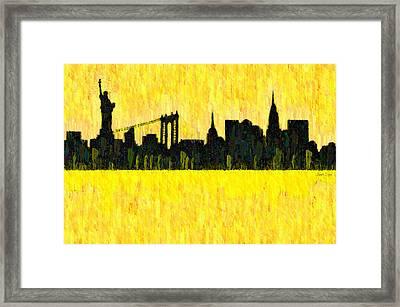 New York Skyline Silhouette Orange - Pa Framed Print