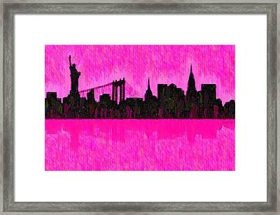 New York Skyline Silhouette Pink - Pa Framed Print by Leonardo Digenio