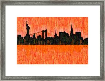 New York Skyline Silhouette Red - Da Framed Print