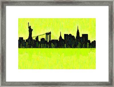 New York Skyline Silhouette Yellow-green - Pa Framed Print by Leonardo Digenio