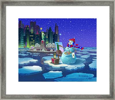 New York Snowman Framed Print by Michael Humphries