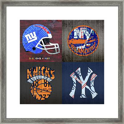 New York Sports Team License Plate Art Collage Giants Islanders Knicks Yankees Framed Print by Design Turnpike