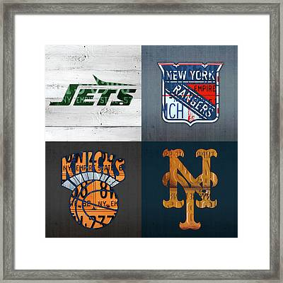 New York Sports Team License Plate Art Collage Jets Rangers Knicks Mets V2 Framed Print