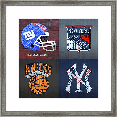 New York Sports Team License Plate Art Giants Rangers Knicks Yankees Framed Print