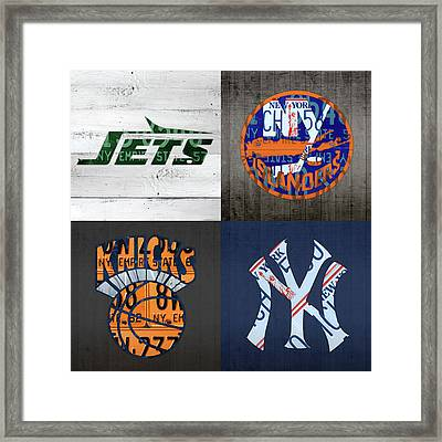 New York Sports Team Logo License Plate Art Jets Islanders Knicks Yankees V5 Framed Print by Design Turnpike