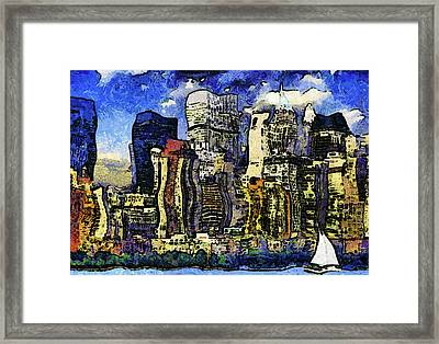 New York Stary Night Expressionism Framed Print by Georgiana Romanovna