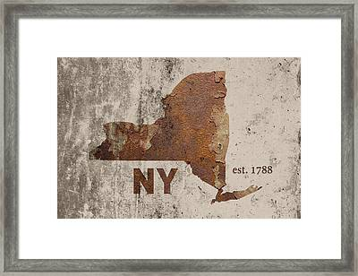 New York State Map Industrial Rusted Metal On Cement Wall With Founding Date Series 001 Framed Print by Design Turnpike