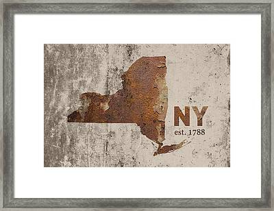 New York State Map Industrial Rusted Metal On Cement Wall With Founding Date Series 025 Framed Print
