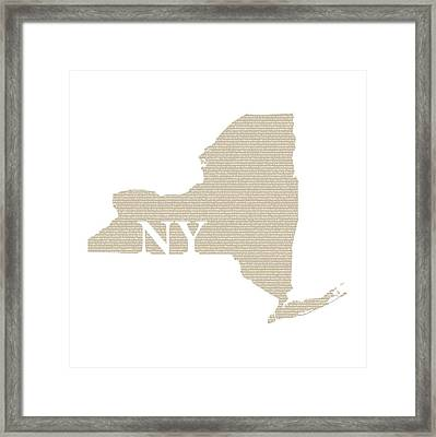 New York State Map With Text Of Constitution Framed Print