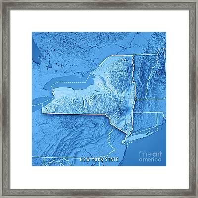 New York State Usa 3d Render Topographic Map Blue Border Framed Print