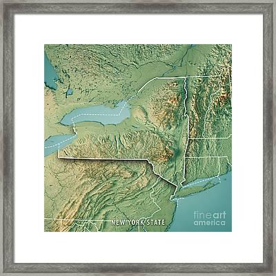 New York State Usa 3d Render Topographic Map Border Framed Print
