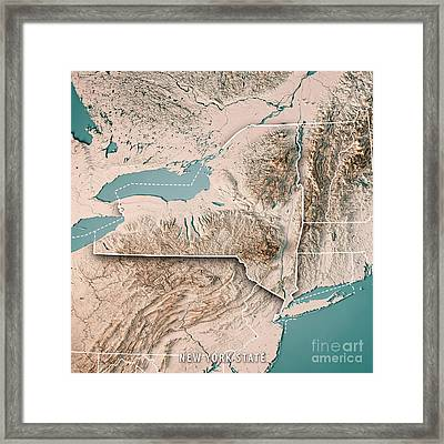 New York State Usa 3d Render Topographic Map Neutral Framed Print