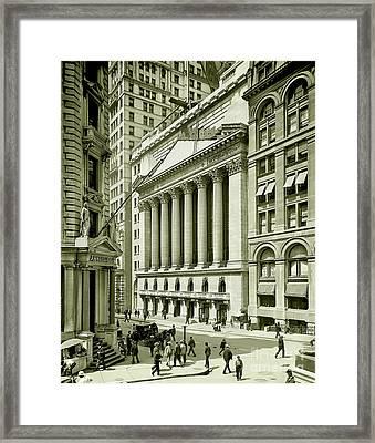 New York Stock Exchange Under Construction 1903 Framed Print by Jon Neidert