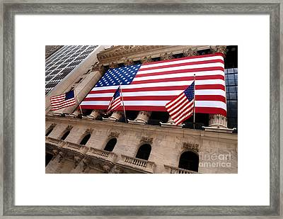 New York Stock Exchange American Flag Framed Print