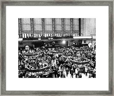 New York Stock Exchange During Heavy Framed Print