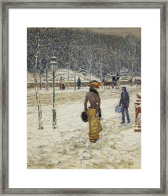 New York Street Framed Print by Childe Hassam