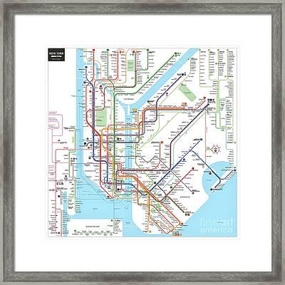 New York Subway Map Framed Print