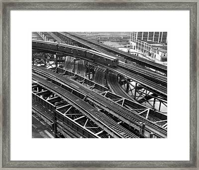 New York Subway Train Tracks Framed Print