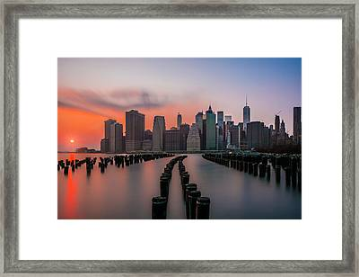 Framed Print featuring the photograph New York Sunset by RC Pics