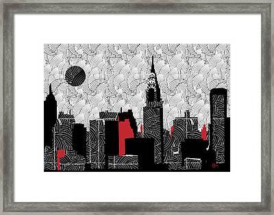 New York City Skyline Swing  Framed Print by Cecely Bloom