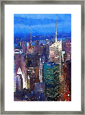New York Time Square - Watercolor Framed Print by Marianna Mills