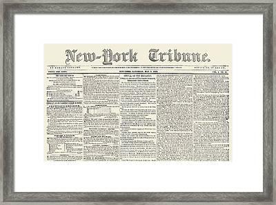 New-york Tribune, 1841 Framed Print