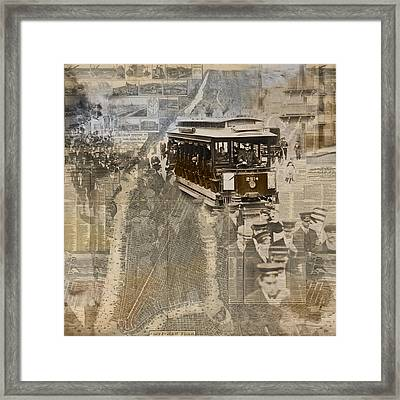 New York Trolley Vintage Photo Collage Framed Print by Karla Beatty