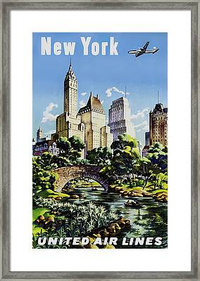 New York United Air Lines Framed Print by Mark Rogan