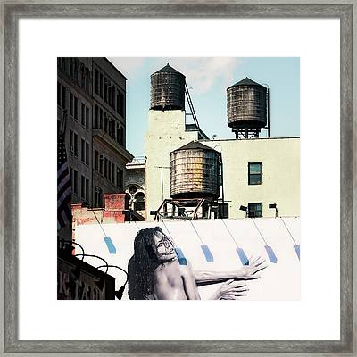 Framed Print featuring the photograph New York Water Towers 15 by Gary Heller
