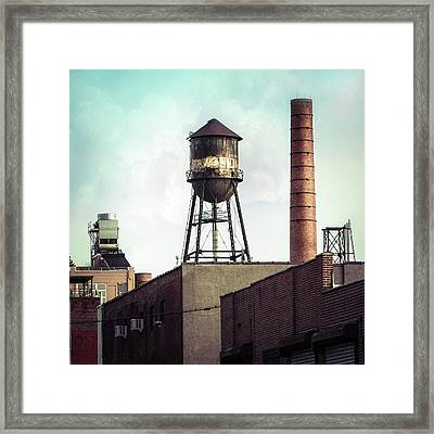 Framed Print featuring the photograph New York Water Towers 19 - Urban Industrial Art Photography by Gary Heller