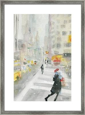 New York Winter 57th Street Framed Print by Beverly Brown