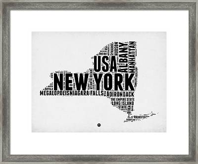 New York Word Cloud Map 2 Framed Print by Naxart Studio
