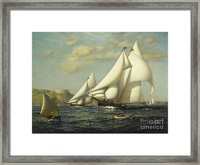 New York Yacht Club Racing Boats In New York Harbor Framed Print by MotionAge Designs