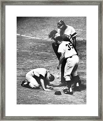 New York Yankee Platoon Catcher Jake Dead-eye Gibbs Injured After Accident At Home Plate. 1966 Framed Print by William Jacobellis