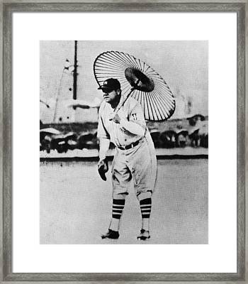 New York Yankees. Babe Ruth, Holding Framed Print