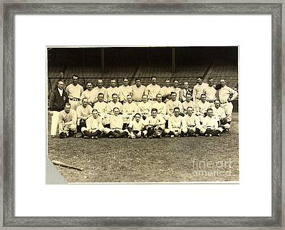 New York Yankees Baseball Team Posed Framed Print by Pg Reproductions