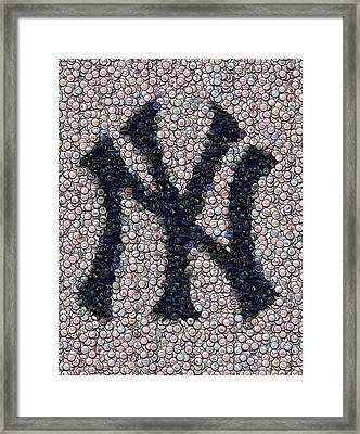 New York Yankees Bottle Cap Mosaic Framed Print