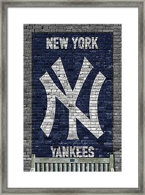 New York Yankees Brick Wall Framed Print by Joe Hamilton