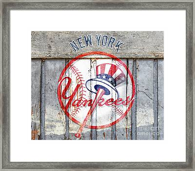 New York Yankees Top Hat Rustic Framed Print