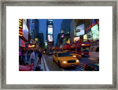Framed Print featuring the painting New York Yellow Cab by David Dehner