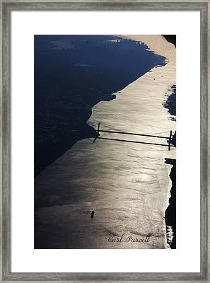Framed Print featuring the photograph New York's East River by Carl Purcell