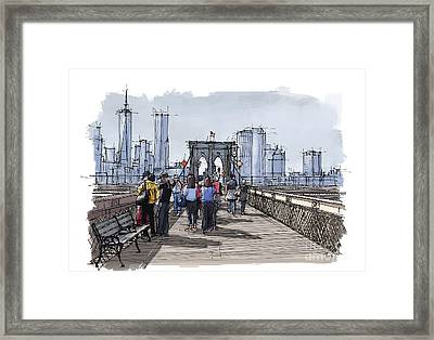 New York.the Bridge.handmade Drawing Framed Print by Pablo Franchi