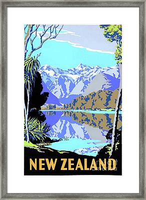 New Zealand Lake Matheson Vintage Travel Poster Framed Print