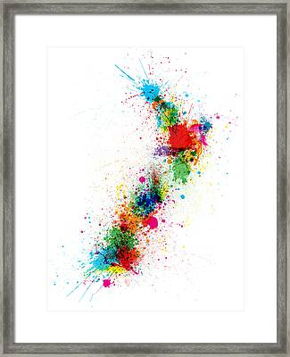 New Zealand Paint Splashes Map Framed Print