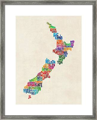 New Zealand Typography Text Map Framed Print