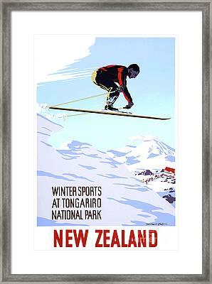 New Zealand Winter Sports Vintage Travel Poster Framed Print
