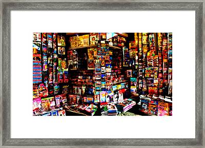 Newagents Kiosk,seville City Framed Print by Panoramic Images