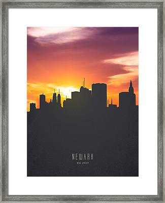 Newark New Jersey Sunset Skyline 01 Framed Print by Aged Pixel