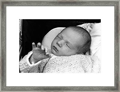 Newborn Baby Girl Sleeping In Her Stroller Framed Print by Sami Sarkis