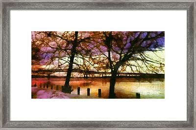 Newburgh Beacon Bridge Purple Skies Framed Print by Janine Riley